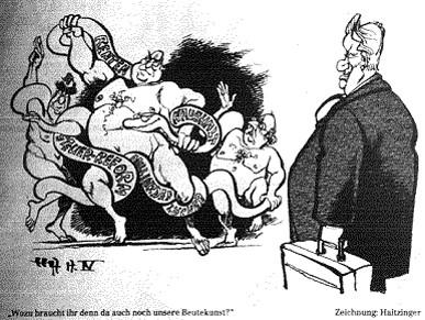 1997: Karikatur der deutschen Beutekunstdebatte